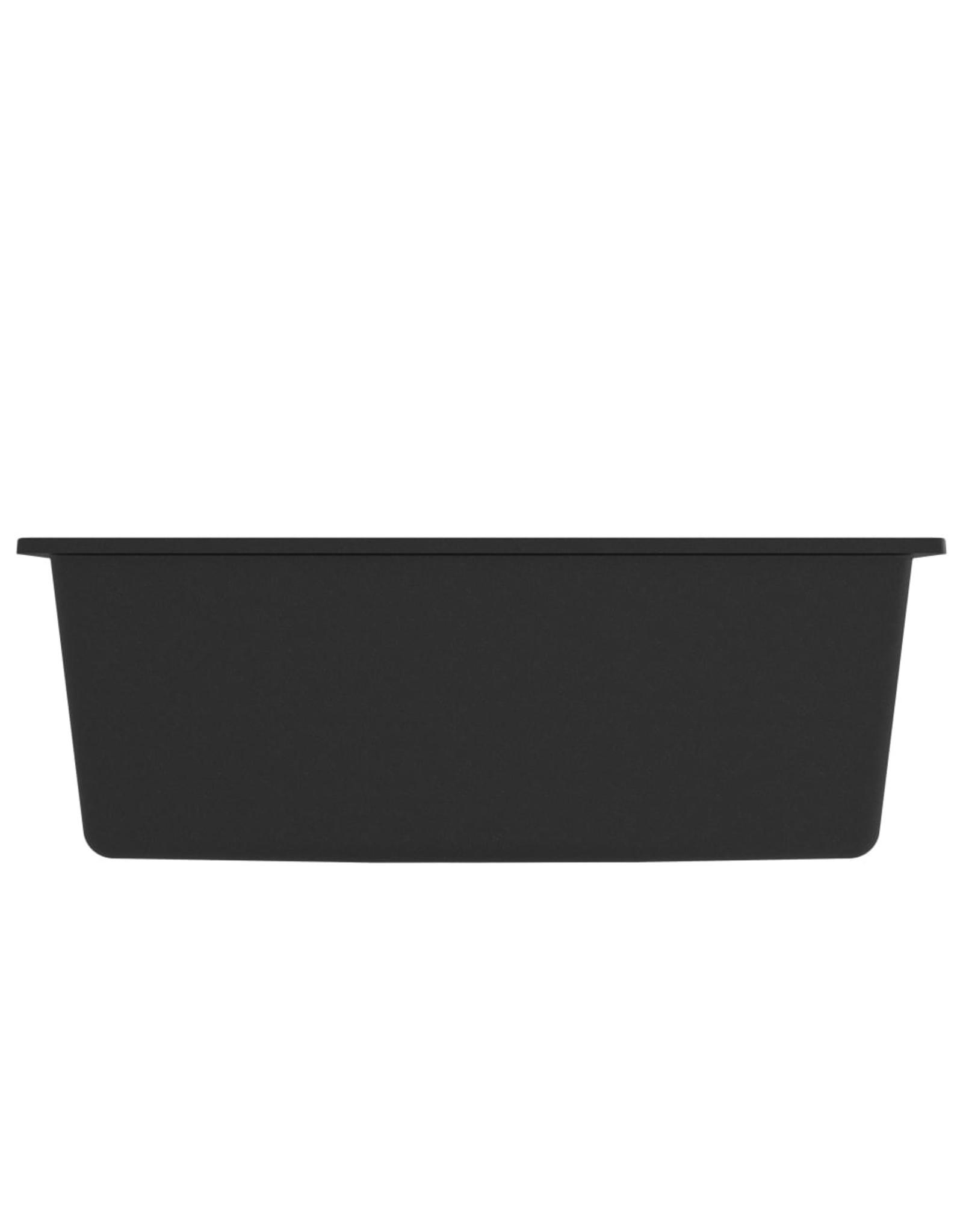 Gootsteen met overloopgat graniet zwart