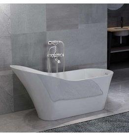 Badkuip vrijstaand met kraan 210 L 99,5 cm zilverkleurig