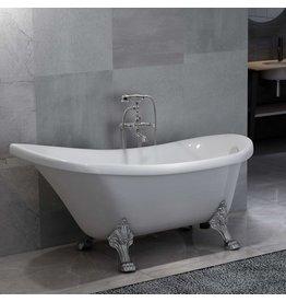 Badkuip vrijstaand met kraan 204 L 99,5 cm zilverkleurig
