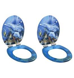 Toiletbrillen 2 st met soft-close deksels MDF dolfijnontwerp