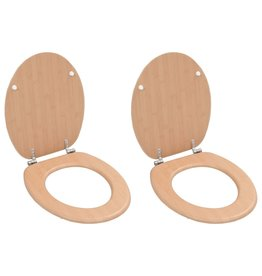 Toiletbrillen 2 st met deksels bamboeontwerp MDF