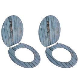 Toiletbrillen met deksels 2 st oud hout MDF