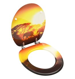 Toiletbril met deksel savanne MDF