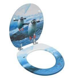 Toiletbril met deksel pinguïn MDF
