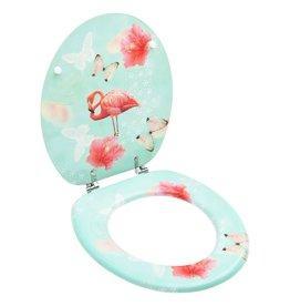Toiletbril met deksel flamingo MDF