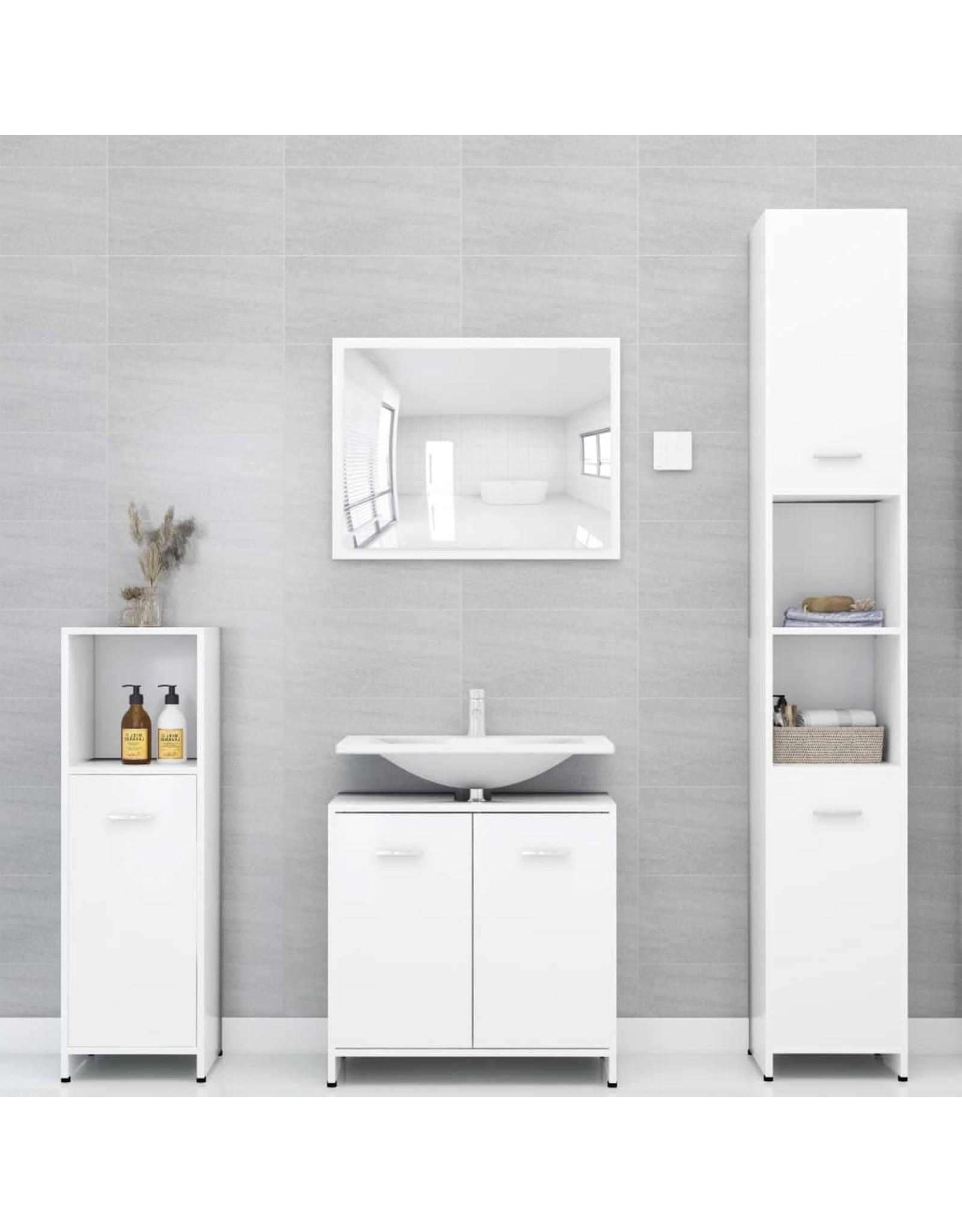 3-delige Badkamermeubelset spaanplaat wit