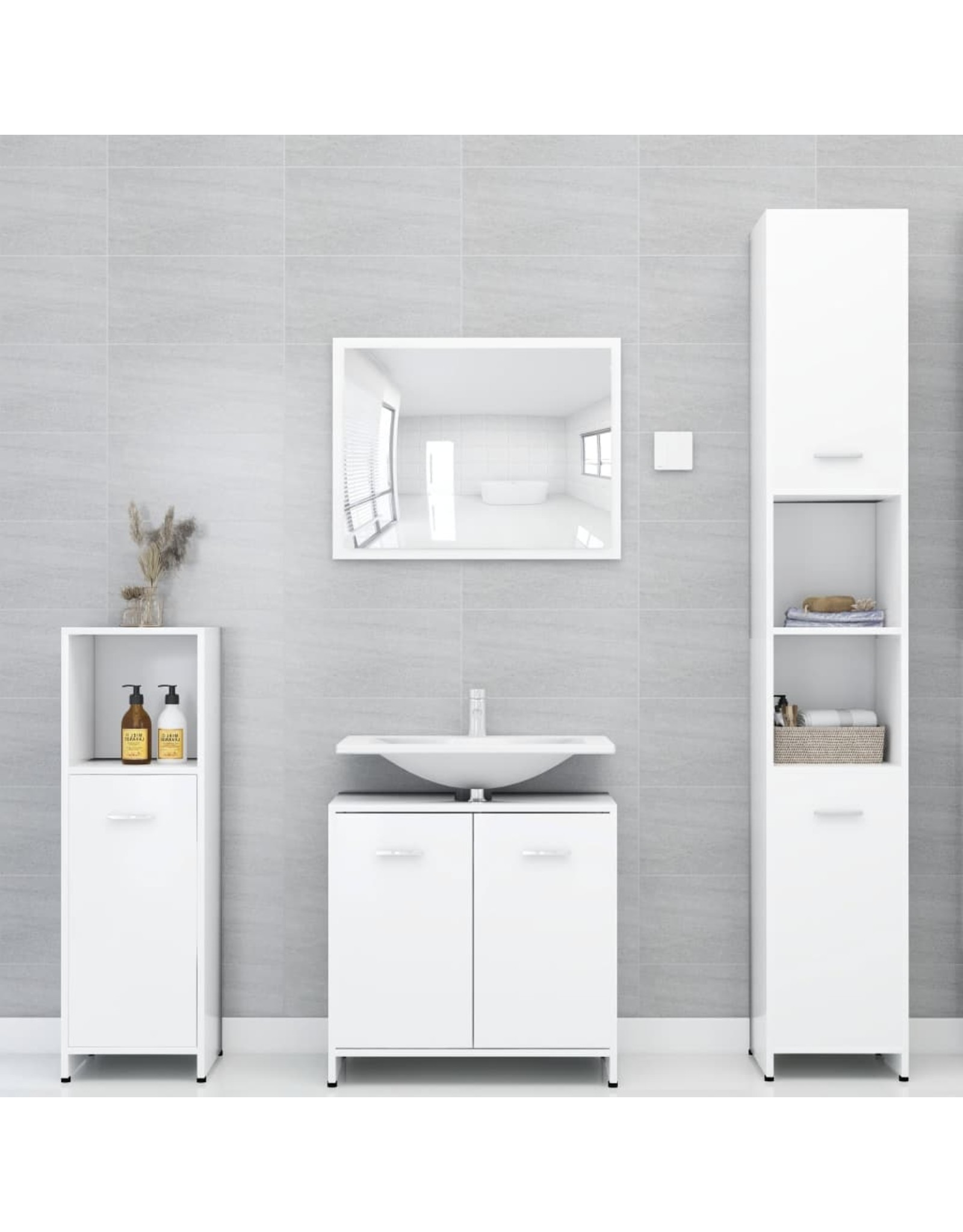 4-delige Badkamermeubelset spaanplaat wit