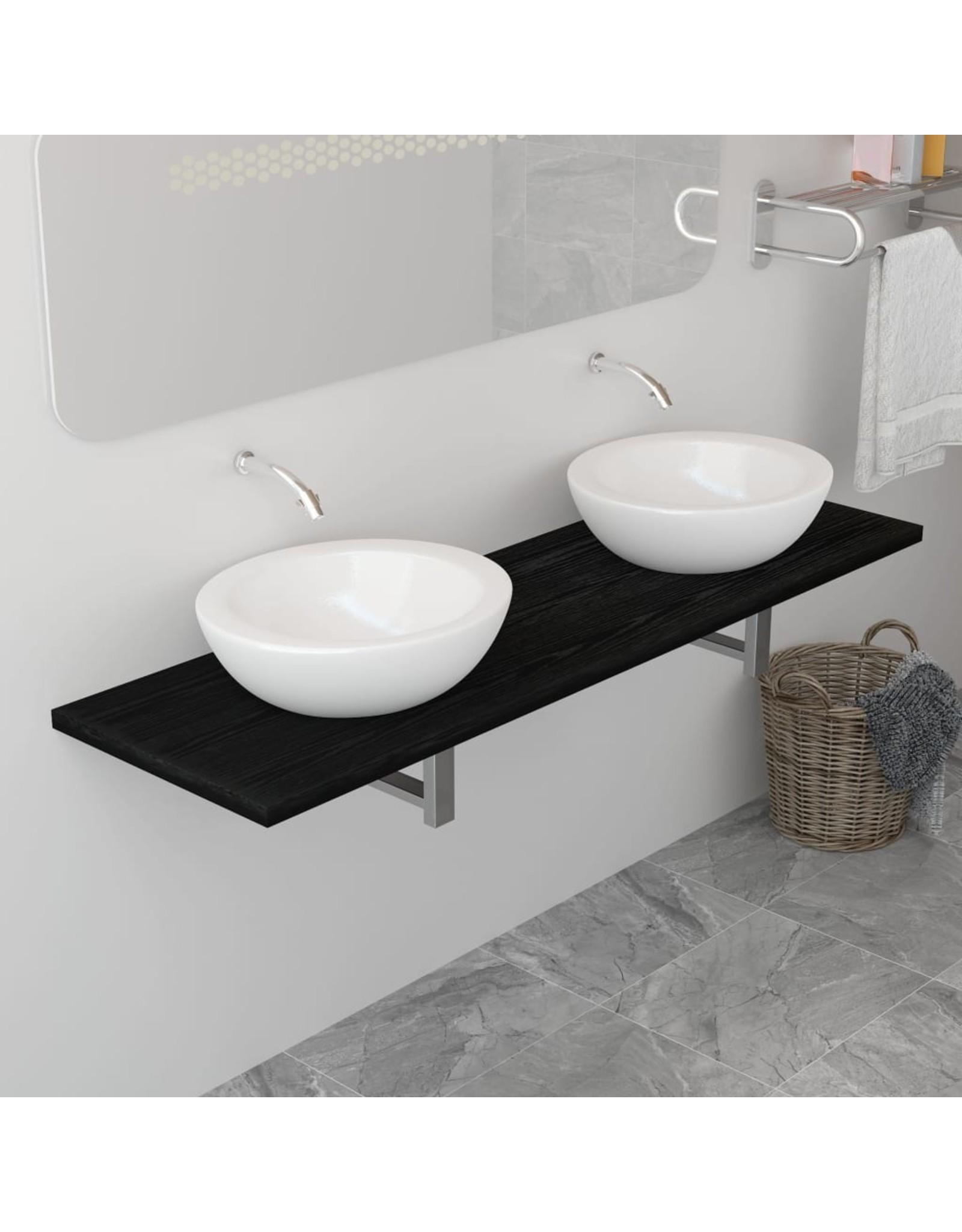 Badkamermeubel 160x40x16,3 cm zwart