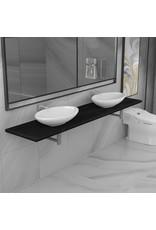 3-delige Badkamermeubelset keramiek zwart