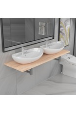 3-delige Badkamermeubelset keramiek eikenkleurig