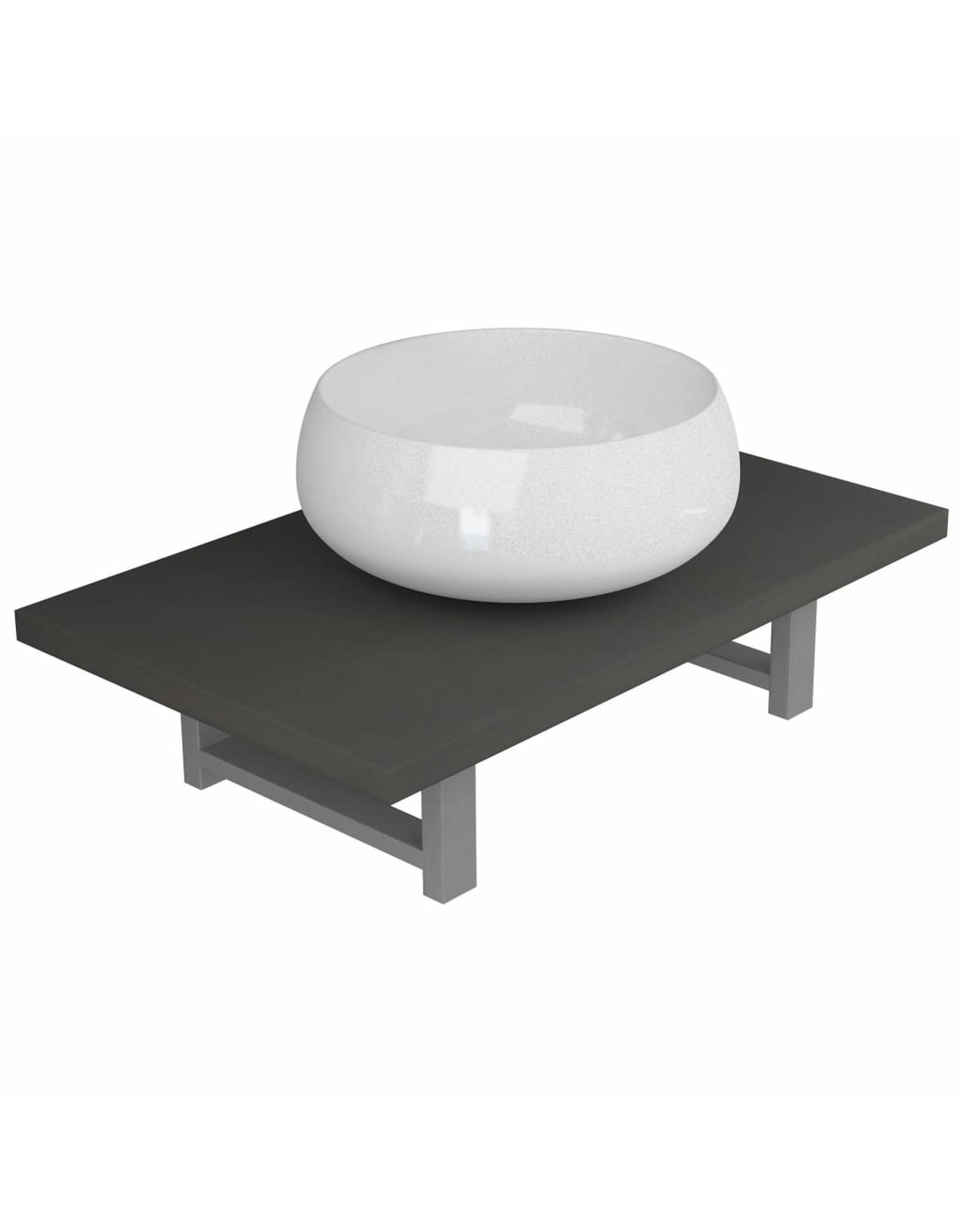 2-delige Badkamermeubelset keramiek grijs