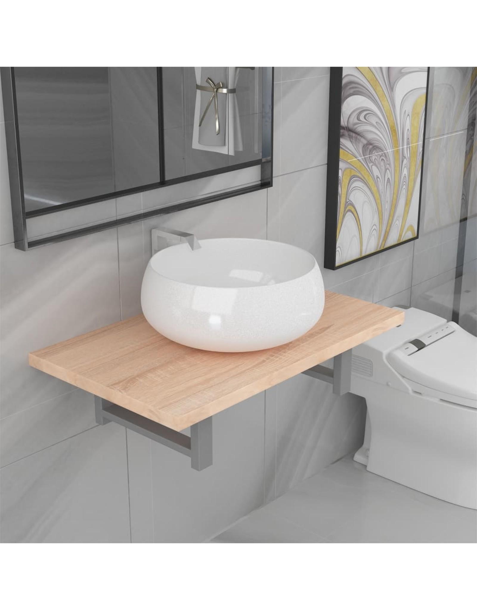 2-delige Badkamermeubelset keramiek eikenkleurig