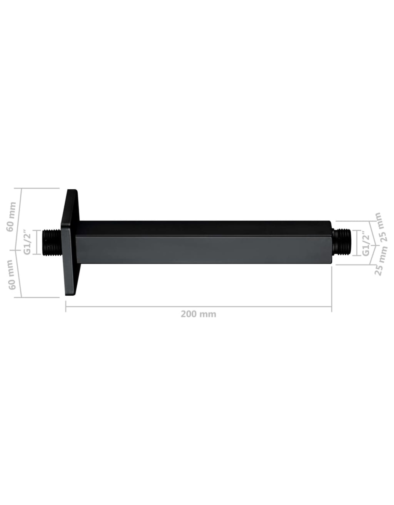 Douchearm vierkant 20 cm roestvrij staal 201 zwart