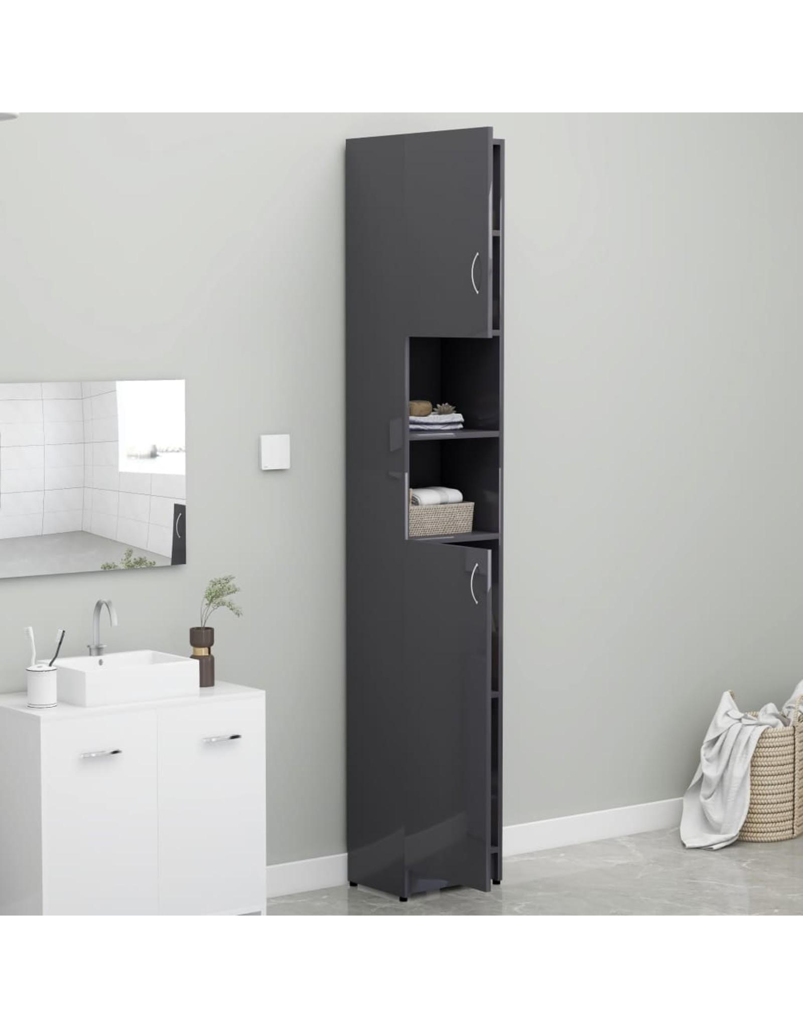 Badkamerkast 32x25,5x190 cm spaanplaat hoogglans grijs