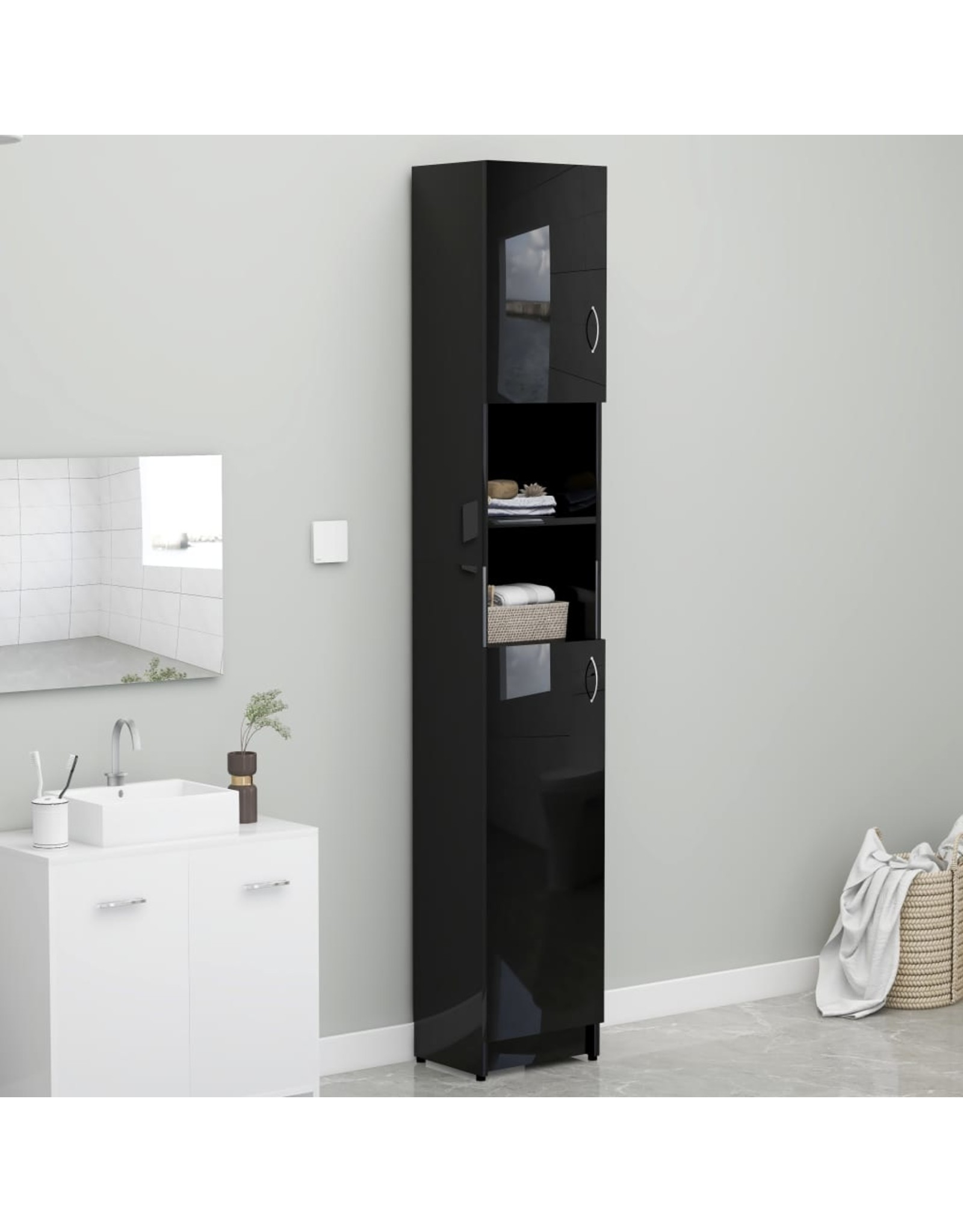 Badkamerkast 32x25,5x190 cm spaanplaat hoogglans zwart