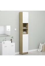 Badkamerkast 32x25,5x190 cm spaanplaat wit sonoma eikenkleurig