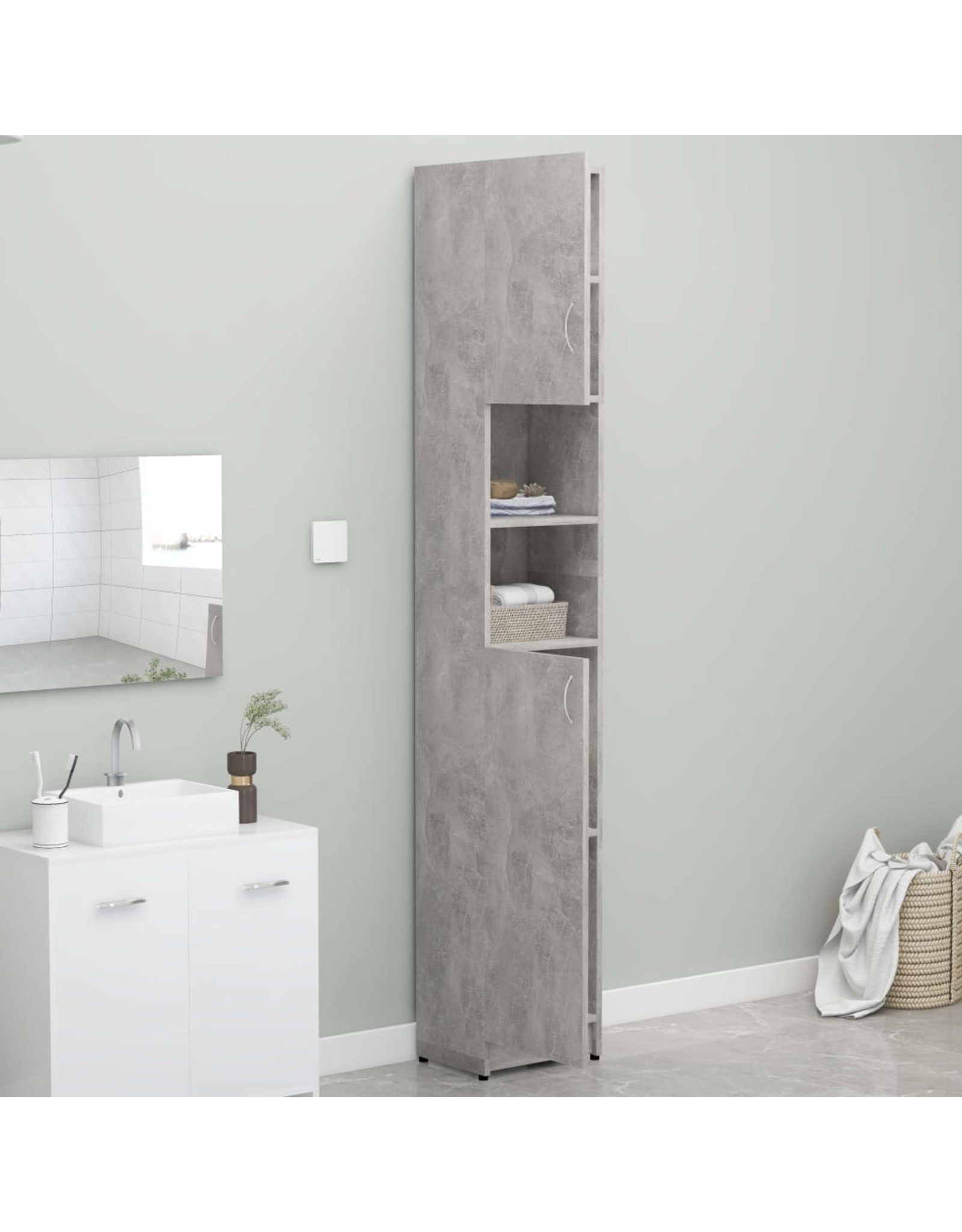 Badkamerkast 32x25,5x190 cm spaanplaat betongrijs