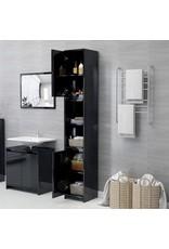 Badkamerkast 30x30x183,5 cm spaanplaat hoogglans zwart
