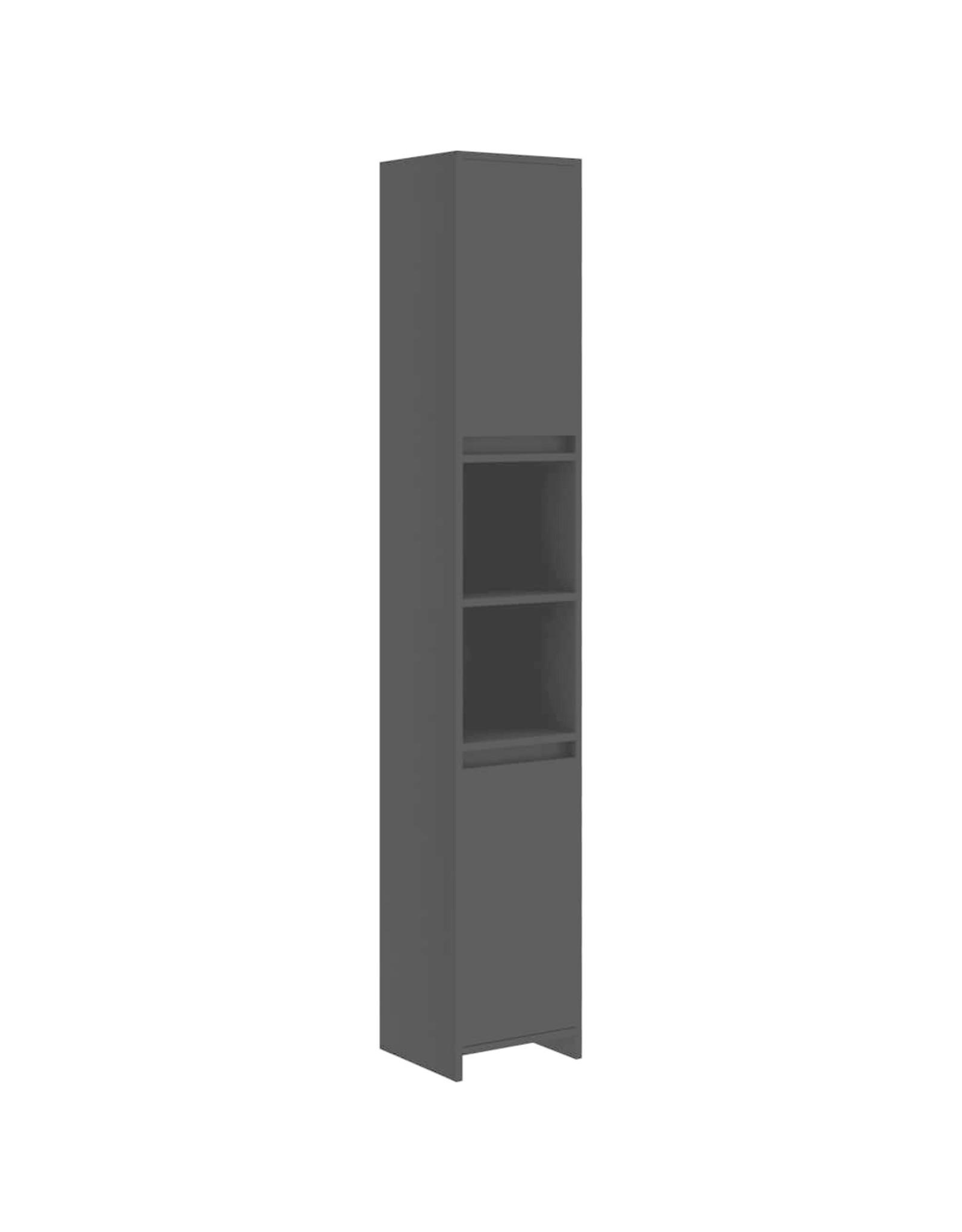 Badkamerkast 30x30x183,5 cm spaanplaat zwart