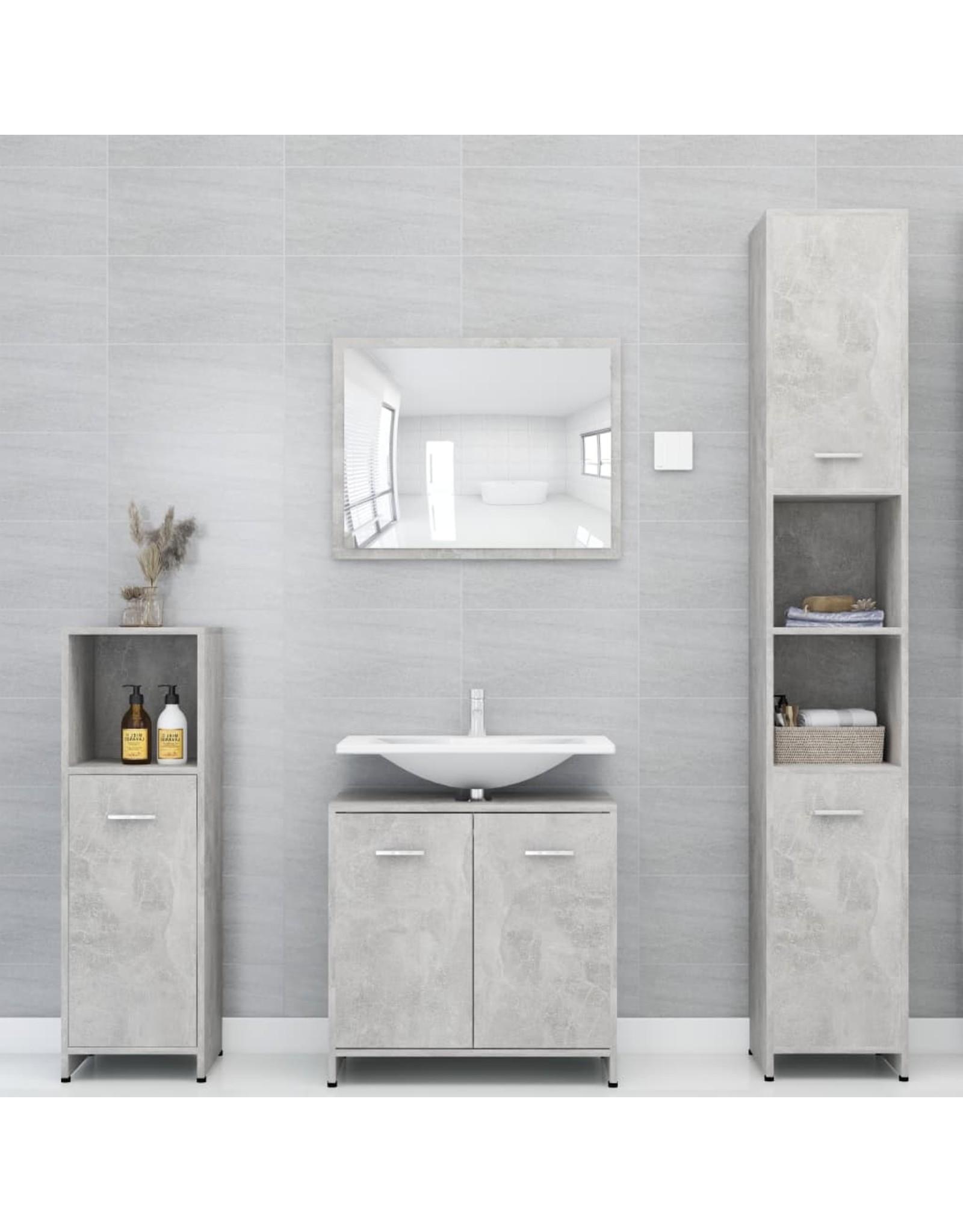 Badkamerkast 30x30x183,5 cm spaanplaat betongrijs