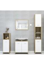 Badkamerkast 30x30x95 cm spaanplaat wit en sonoma eikenkleurig