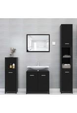 Badkamerkast 30x30x95 cm spaanplaat zwart