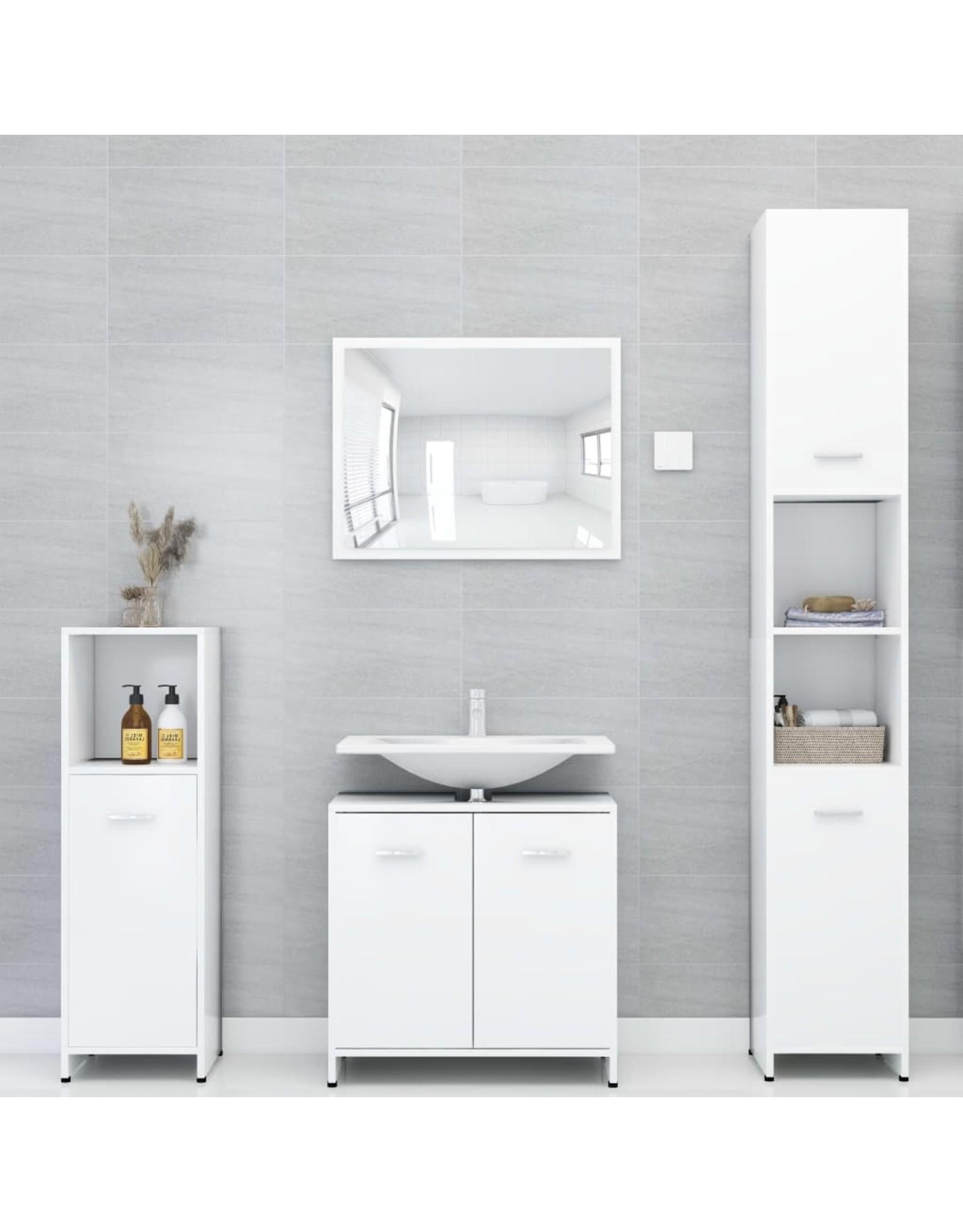 Badkamerkast 30x30x95 cm spaanplaat wit