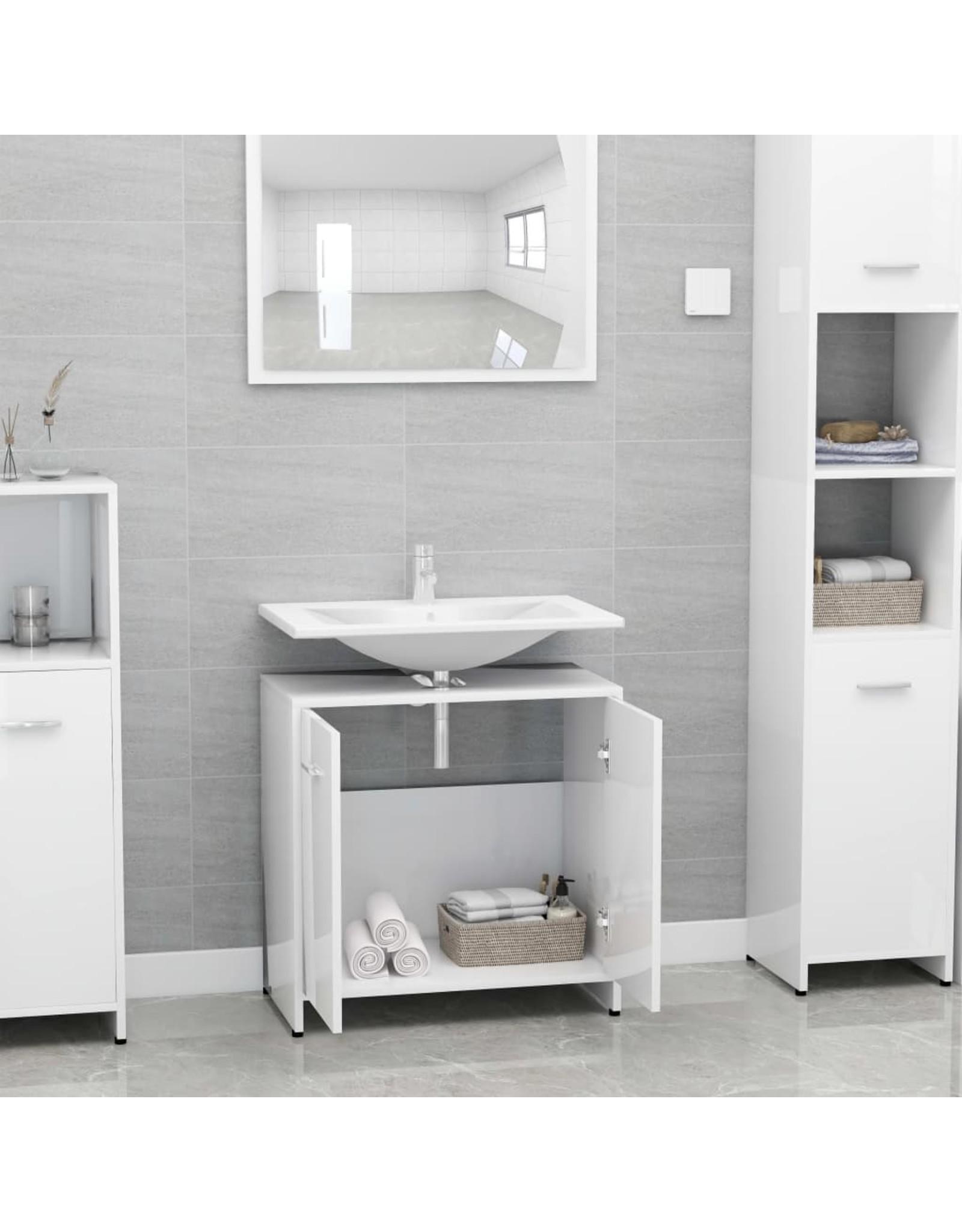 Badkamerkast 60x33x58 cm spaanplaat hoogglans wit