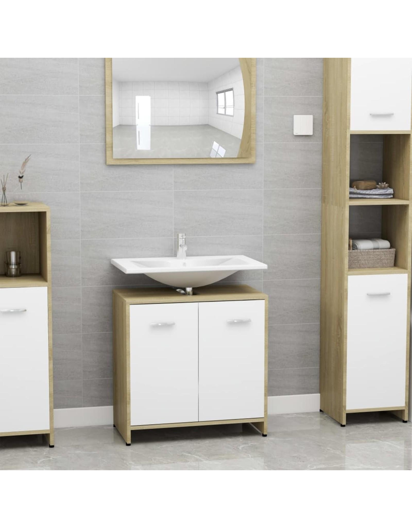Badkamerkast 60x33x58 cm spaanplaat wit en sonoma eikenkleurig