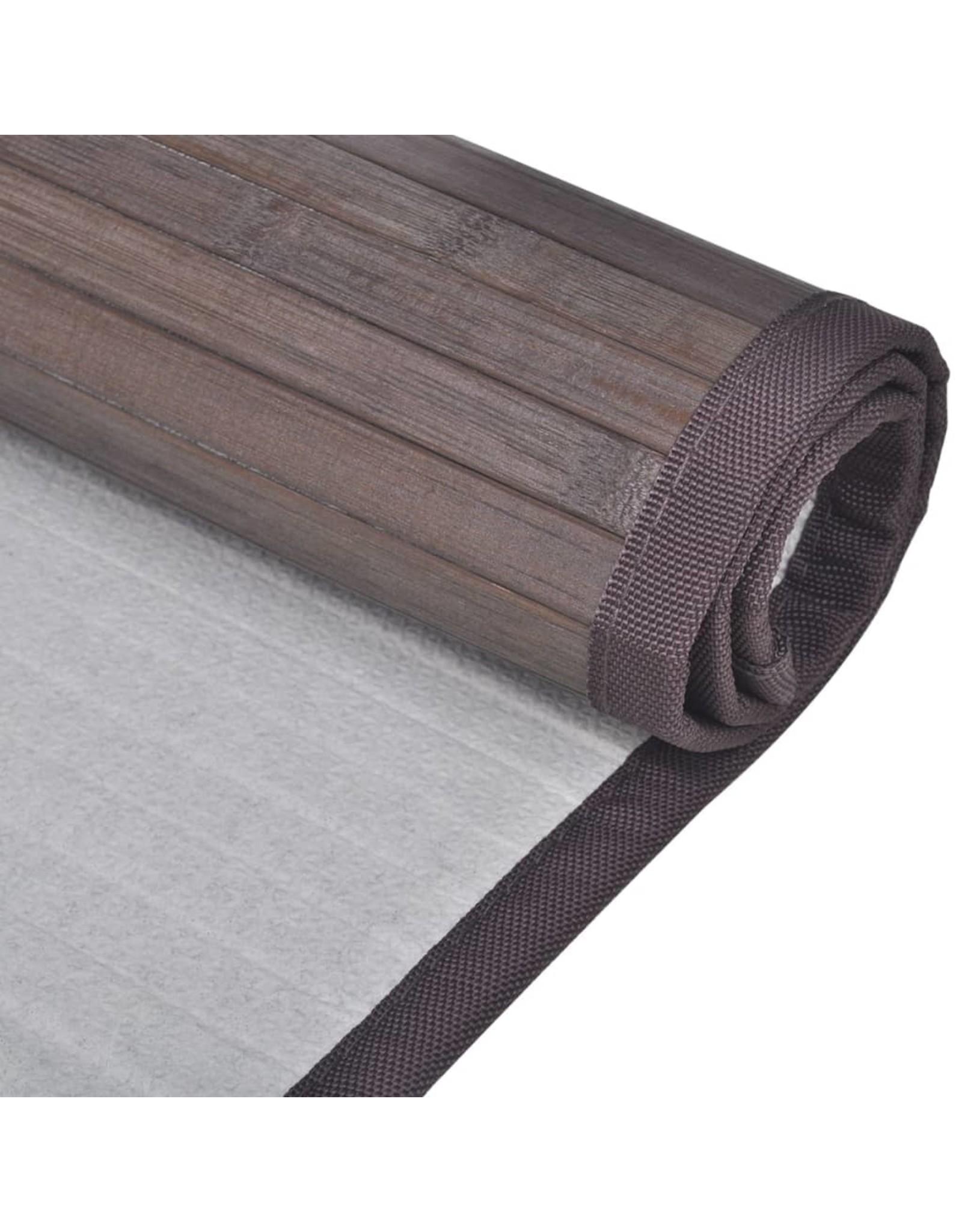 Badmatten 2 st 60x90 cm bamboe donkerbruin
