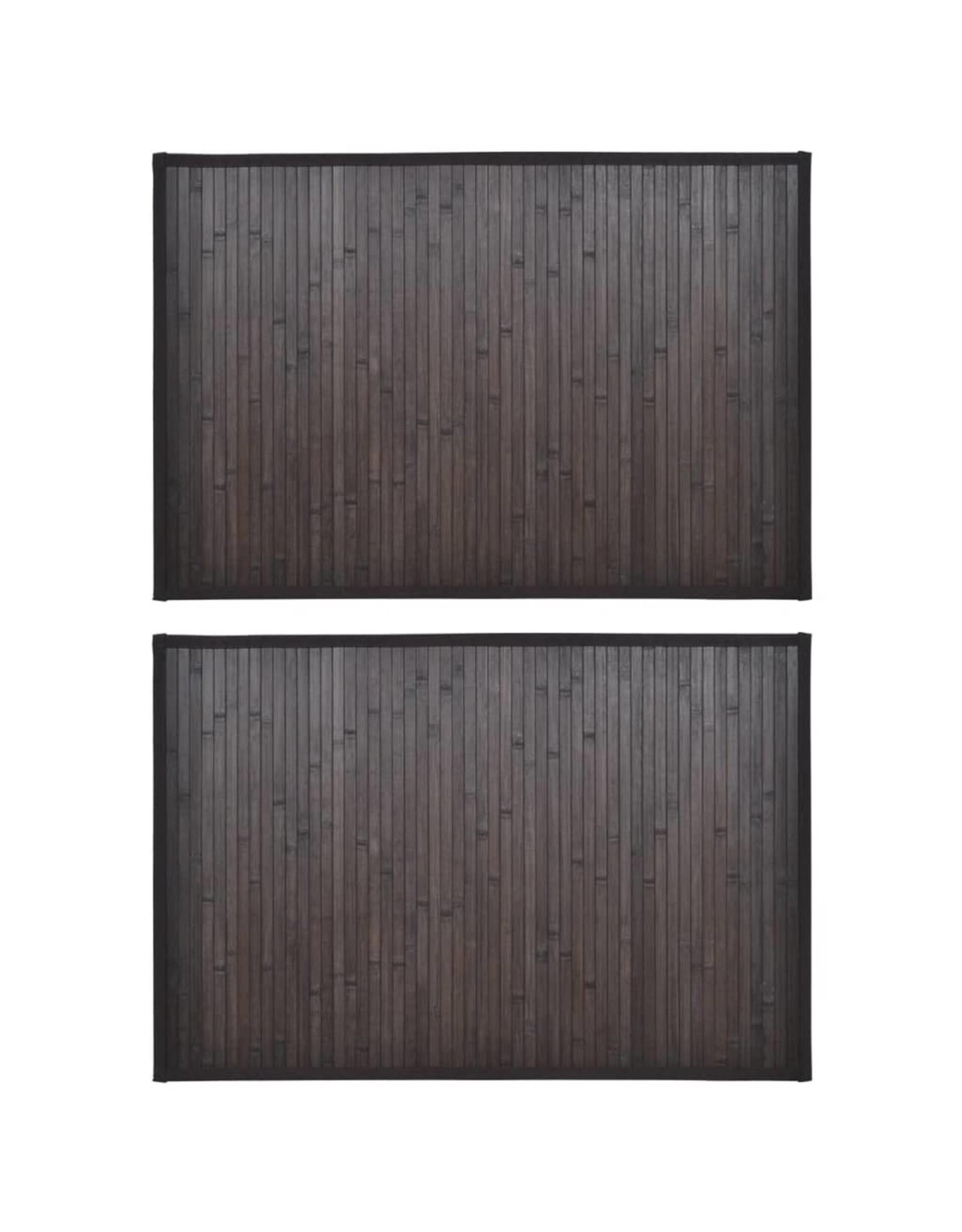 2 Badmatjes bamboe 40 x 50 cm donkerbruin
