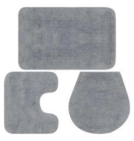 Badmattenset stof grijs 3-delig