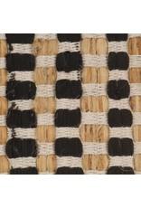 Badmattenset handgeweven jute en stof naturel en zwart