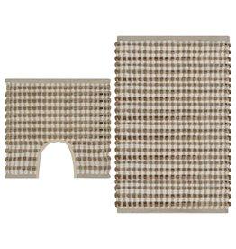 Badmattenset handgeweven jute en stof naturel en wit