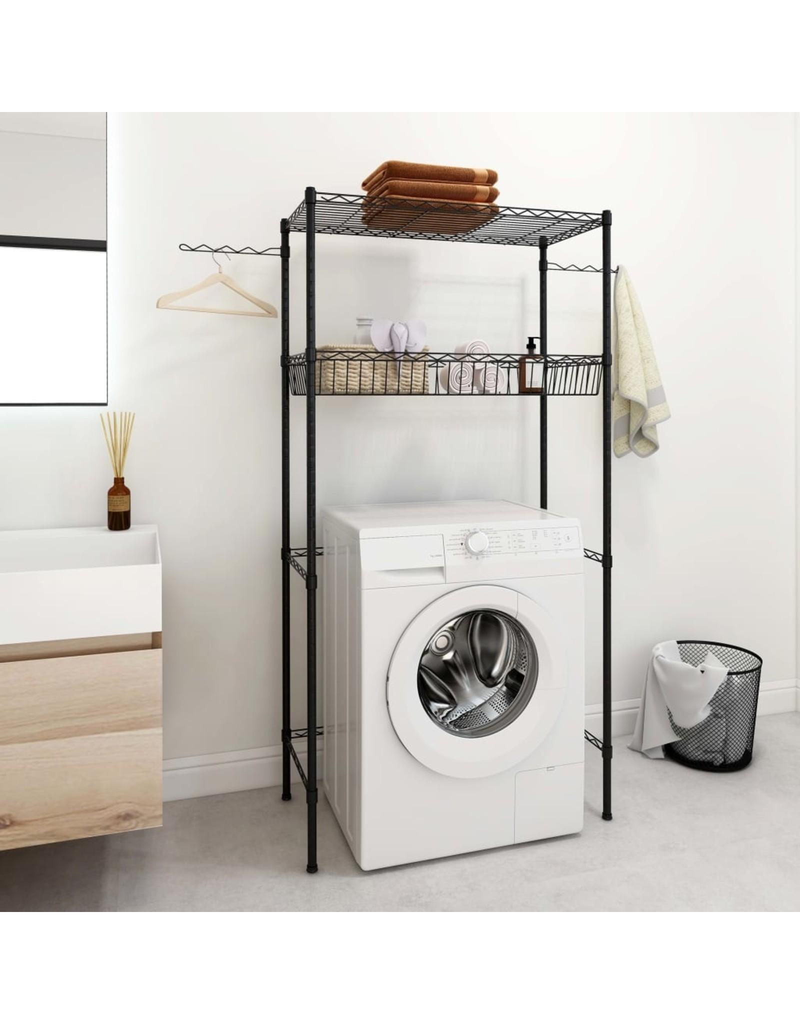 Opbergrek voor boven wasmachine 2-laags 75x35x150 cm zilver