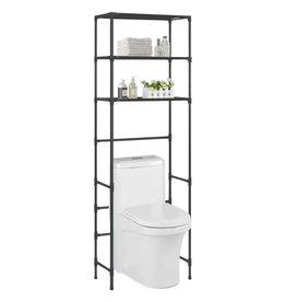 Opbergrek voor boven toilet 3-laags 53x28x169 cm zwart
