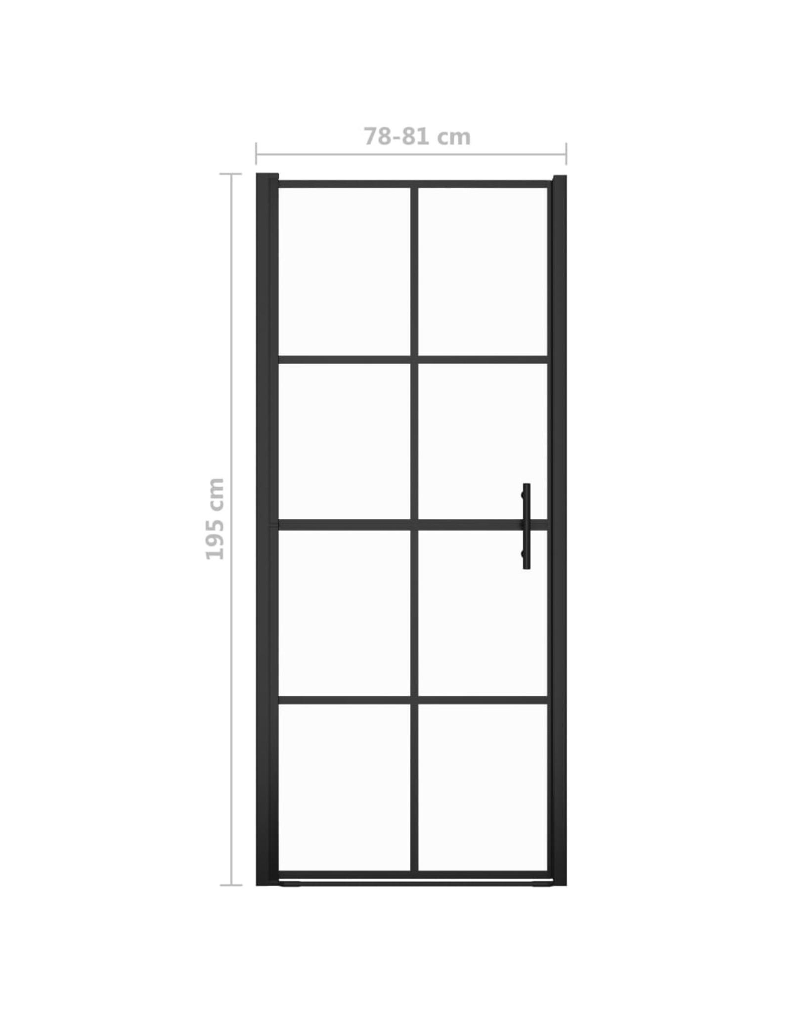 Douchedeuren 81x195 cm gehard glas zwart
