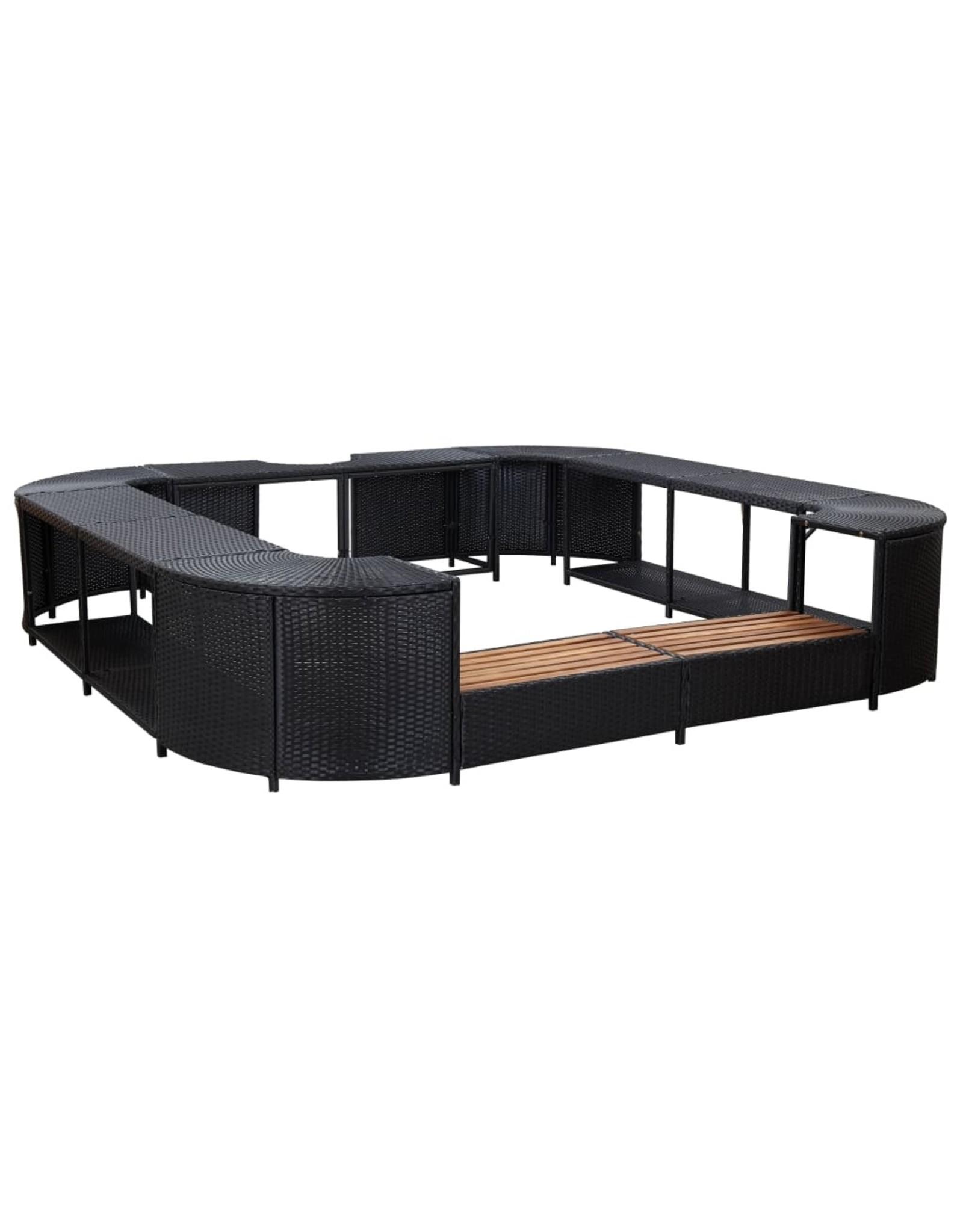 Spa-ombouw vierkant 268x268x55 cm poly rattan zwart