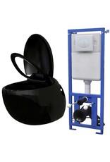 Hangend ei-design toilet met ingebouwde stortbak zwart