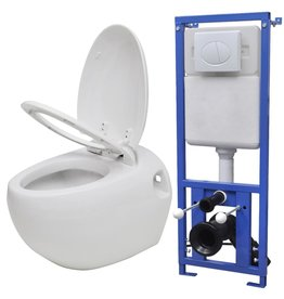 Hangend ei-design toilet met ingebouwde stortbak wit