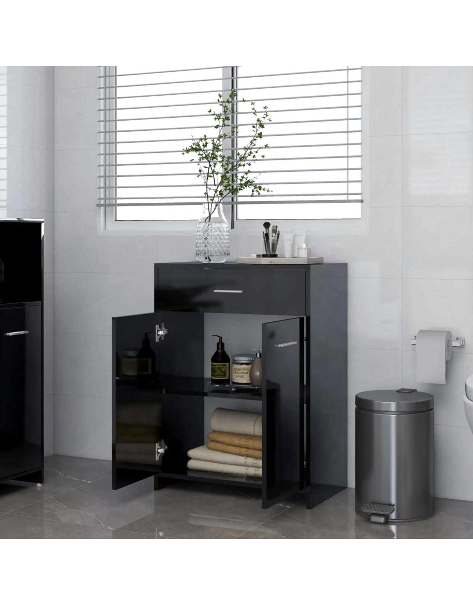 Badkamerkast 60x33x80 cm spaanplaat hoogglans zwart