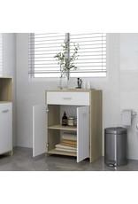 Badkamerkast 60x33x80 cm spaanplaat wit en sonoma eikenkleurig