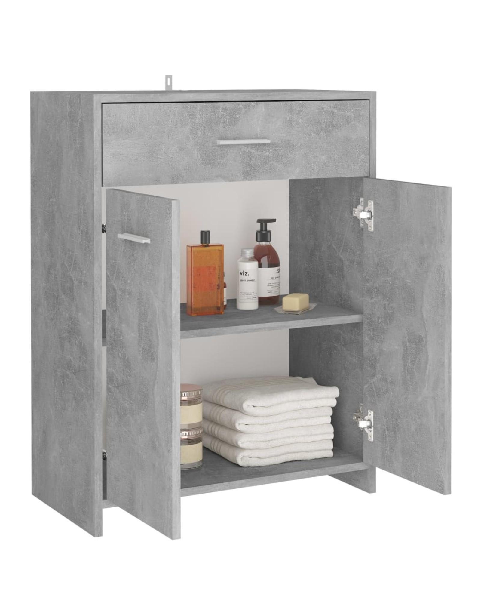 Badkamerkast 60x33x80 cm spaanplaat betongrijs