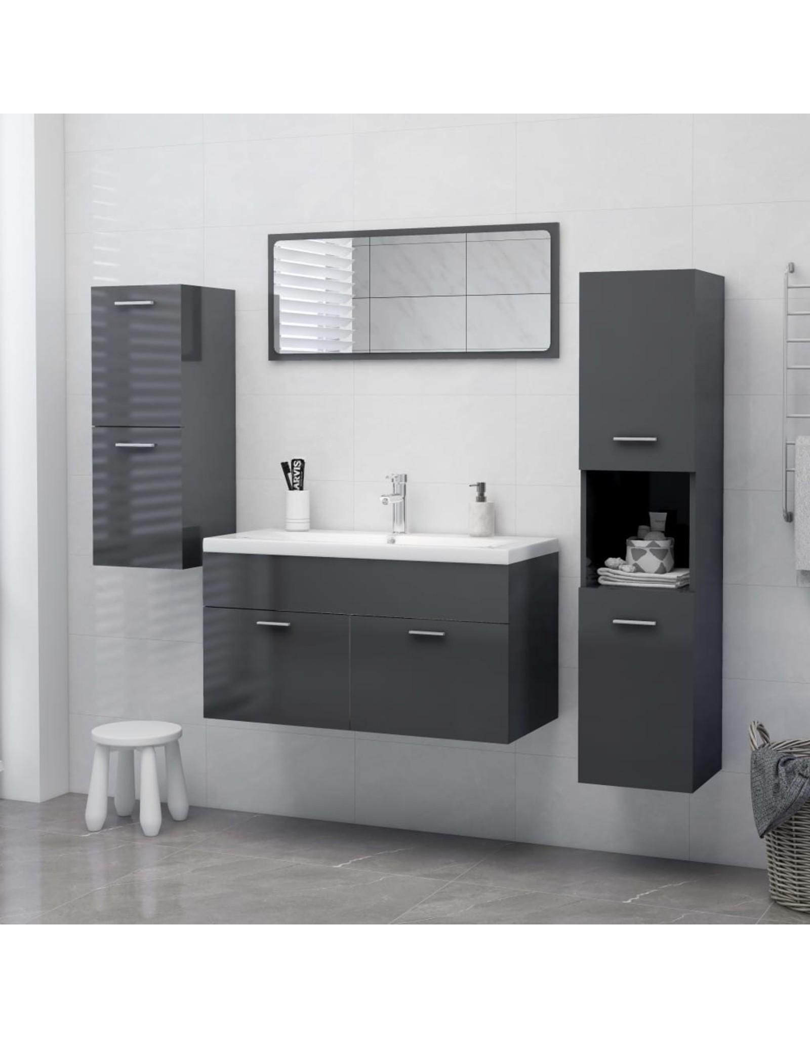 Badkamerkast 30x30x130 cm spaanplaat hoogglans grijs