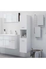 Badkamerkast 30x30x130 cm spaanplaat hoogglans wit