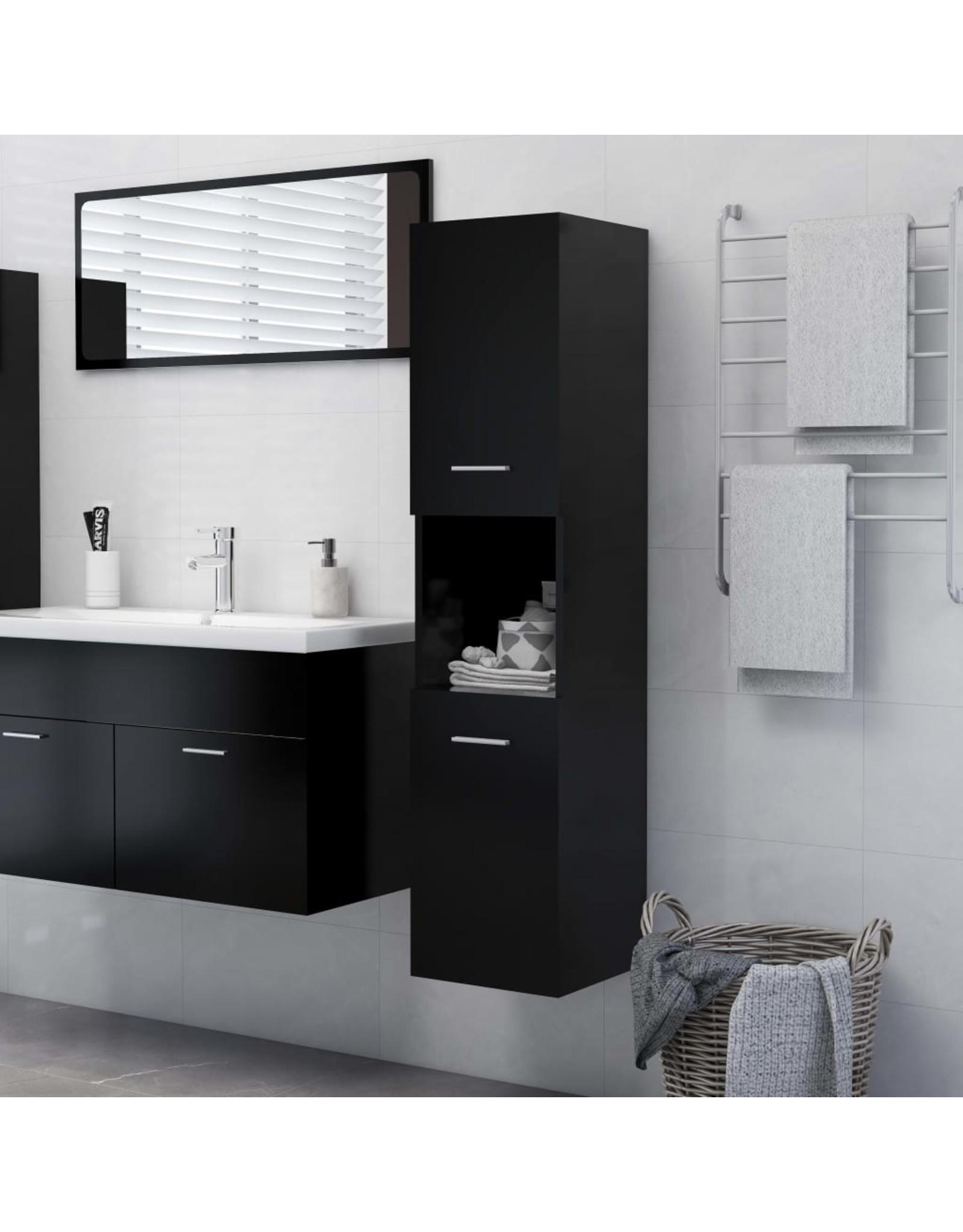 Badkamerkast 30x30x130 cm spaanplaat zwart