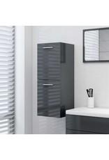 Badkamerkast 30x30x80 cm spaanplaat hoogglans grijs