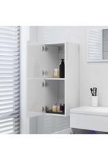 Badkamerkast 30x30x80 cm spaanplaat hoogglans wit