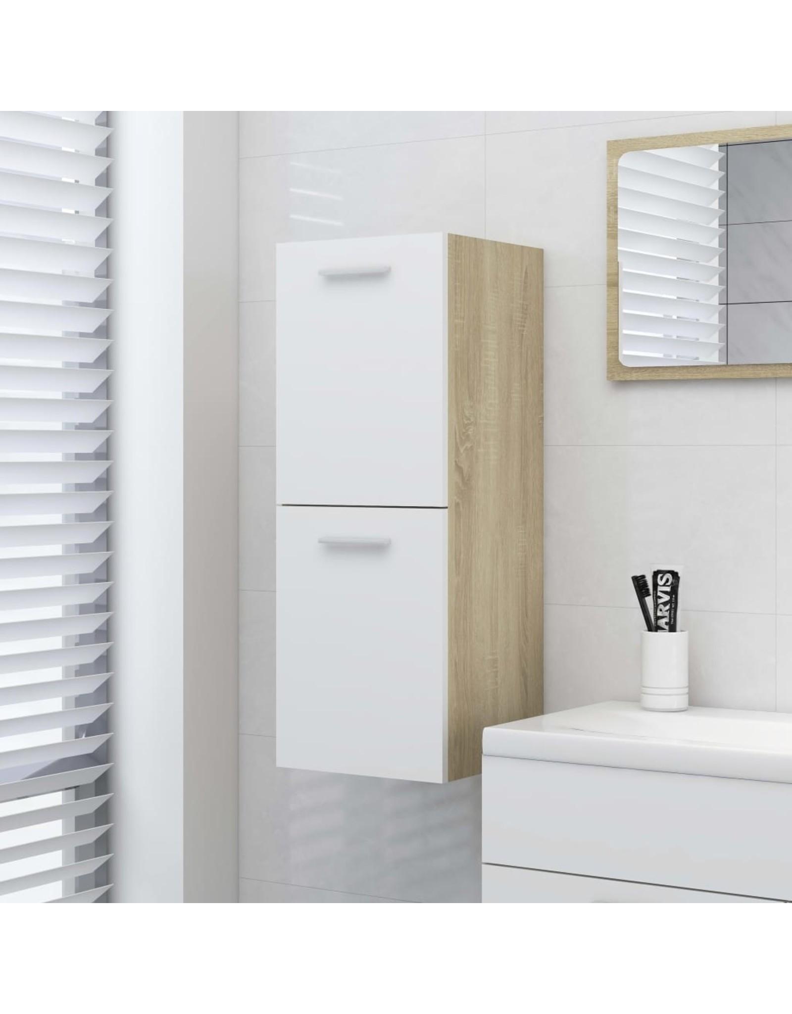 Badkamerkast 30x30x80 cm spaanplaat wit en sonoma eikenkleurig