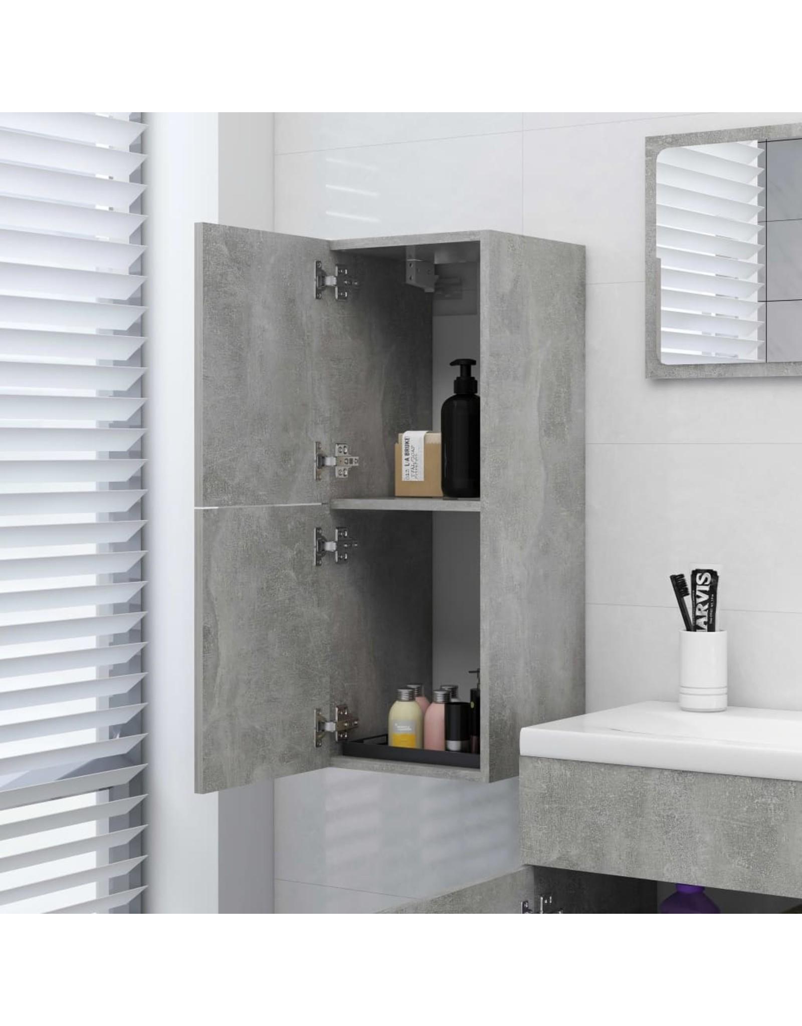 Badkamerkast 30x30x80 cm spaanplaat betongrijs